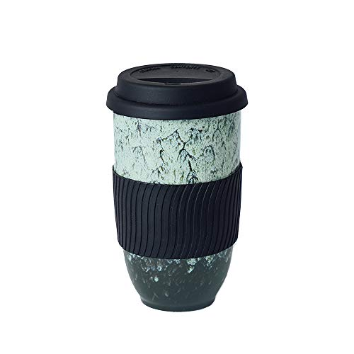 UNIVERSAL TRAVELLER Ceramic Coffee Travel Mug with Silicon Lid and Sleeve -16oz (470ml), Large. Eco-friendly. Portable, Reusable to-go Coffee Cup, Convenient and Uniquely Styled with Green Kiln Glaze