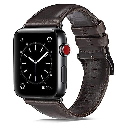 KAEGREEL Compatible con Apple Watch Band 40 mm 38 mm, Hebilla de Metal Banda de Repuesto Retro Correa de Cuero Genuino Vintage para Apple Watch SE Series 6 5 4 3 2 1,B,38mm/40mm