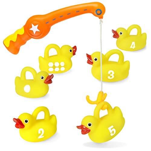 kidzlane Bath Toys Fishing Game - 1 Toy Fishing Pole and 6 Rubber Duckies - Teaches Numbers & Shapes - Mold-Proof Design with no Holes - Great Learning Toy for Babies, Toddlers & Kids