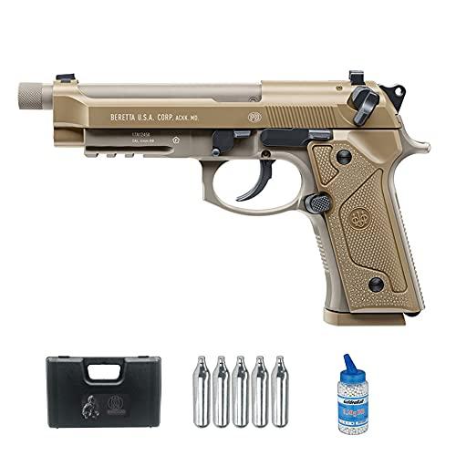 Pistola de Airsoft Beretta M9 A3 blowback CO2 (Calibre 6mm) | Arma Corta de Bolas PVC + Botella Green Gas + maletín + biberón