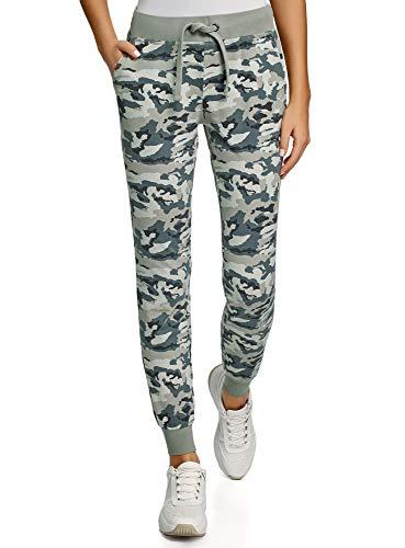 oodji Ultra Mujer Pantalones de Punto con Cordones, Verde, ES 34 / XXS