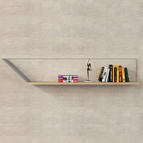 QSAA Home Storage Organizer Boekenkast Bewaar Beeld Ledge Plank Eenvoudige Moderne Effen Houten Wandplank Nordic Creatieve Woonkamer Decoratie Boekenkast Smeedijzeren Muur Ophangen