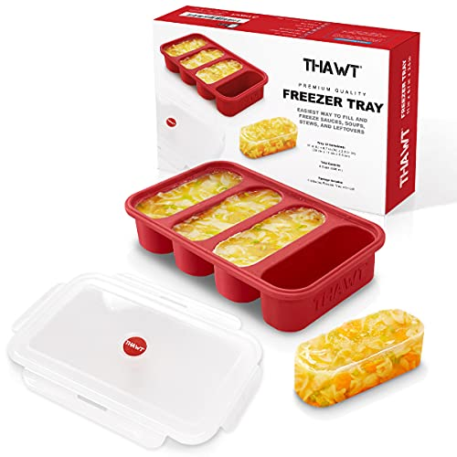 Thawt 1-Cup Extra-Large Silicone Freezing Tray w/Snap-on Lid - Food Storage Container Ice Cube Tray - Allows up to Four 1-Cup Soup Cube Portions - Freeze Soup Broth, Sauce, Meal Prep, Jello BPA Free