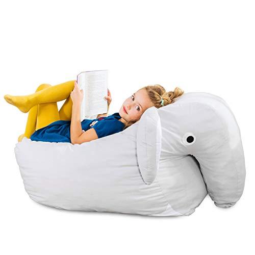 Smoothy Kindersitzsack Elefant - Tierform Sitzsack für Kinder - Kindermöbel XXL Stofftier aus Baumwolle