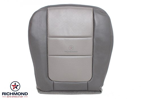 Richmond Auto Upholstery - Driver Side Bottom Ultra Leather Seat Cover Gray (Compatible with 2001 Ford F250 F-250 Platinum Edition) -  FSDPL01DB2GN-03