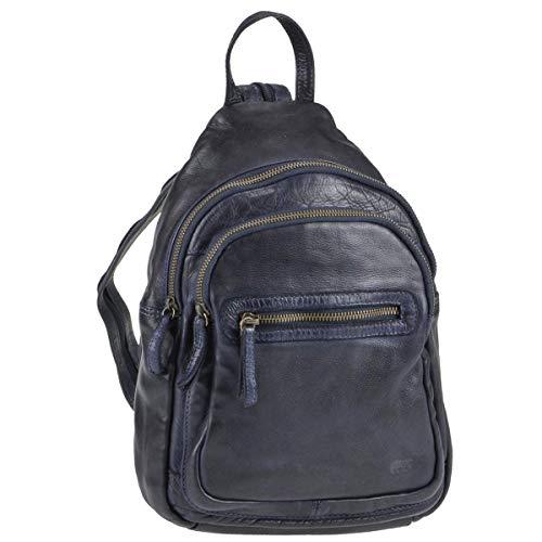 Bear Design Rucksack Leder Cityrucksack Backpack Damenrucksack Cow Lavatao blau