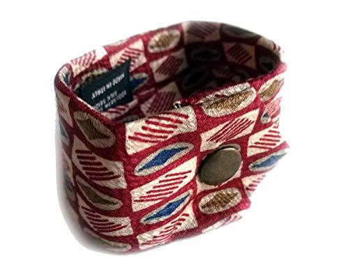 Miniblings Pulsera de Atar la Cinta Upcycling Hechos a Mano del Rojo Corbatas a Cuadros L - Hecho a Mano de joyería de Moda - Damas Pulsera de niña