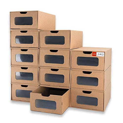 WallQmer - Scatola per scarpe, 12 pezzi, in cartone impermeabile, resistente, impilabile, stabile, con etichette e finestra trasparente