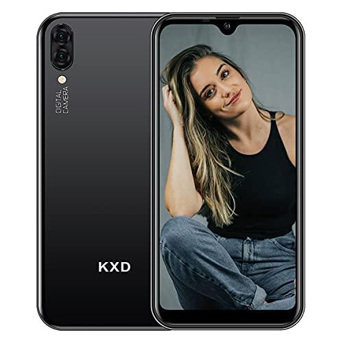 Teléfono Móvil Libres KXD A1 Android 8.1 Quad Core Smartphone Libre Baratos 3G Dual SIM, Pantalla 5,71' IPS Water-Drop Screen Movil, Cámara Trasera y Frontal 5MP 16GB ROM (128GB Ampliable SD) - Negro