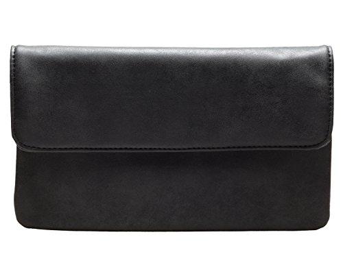 cecilia&bens Damen Clutch in verschiedenen Farben   kleine Handtasche   Abendtasche, Farbe:schwarz