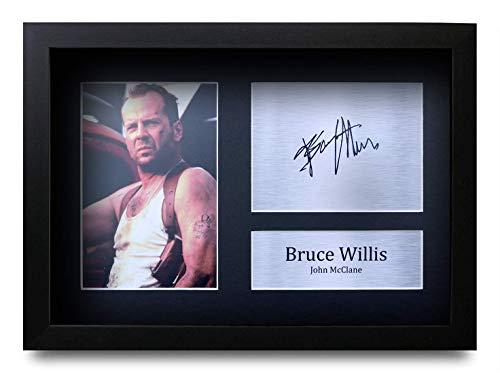 HWC Trading Bruce Willis A4 Gerahmte Signiert Gedruckt Autogramme Bild Druck-Fotoanzeige Geschenk Für Die Hard Filmfans