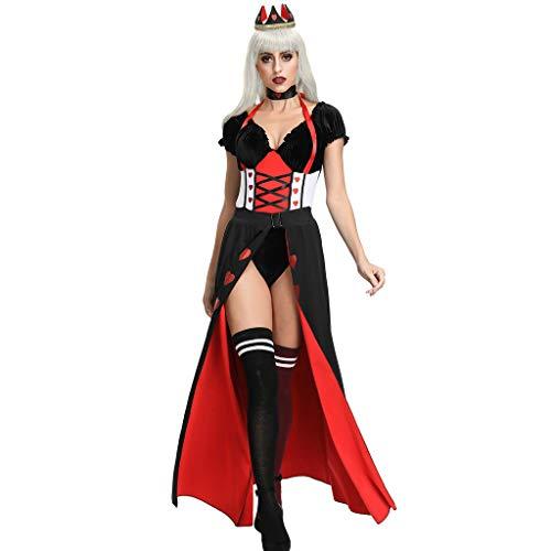 LOPILY Kostüm Damen Erwachsenkostüm Königin Kleid Oberteil Kopfschmuck Halloween Kostüm Damen Sexy Kanerval Fashingskostüme Gruselige Halloween Party Bekleidung (KEIN Strumpfhosen KEIN Schuhen) (34)