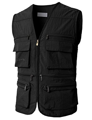 H2H Mens Active Utility Sleeveless Camping Outdoor Vests with Multiple Pockets Black US XL/Asia 2XL (KMOV0148)