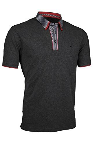Premium-Poloshirt von Giorgio Capone, einzigartiger Hemdkragen, Pique-Stoff 100% Baumwolle, anthrazit, Regular Fit (L)