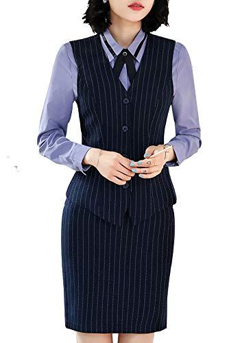 Vrouwen 2 Stuks Office Lady Stripe Business Suit Slim Fit Blazer Vest met Broek of Rokken