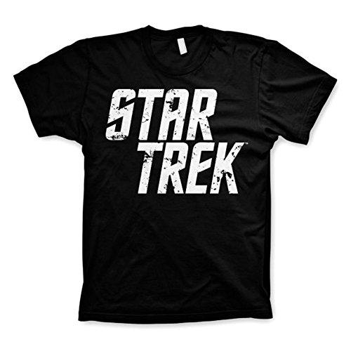 Star Trek Official Mens Written Logo Black Retro Printed T Shirt (XL)