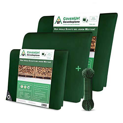 CoverUp! Lona Impermeable Exterior 3 x 3 m [120 g/m2] + Cuerda de 14 m, Lona de protección con Ojales para Muebles de jardín, Piscina, Coche, Resistente a la Rotura