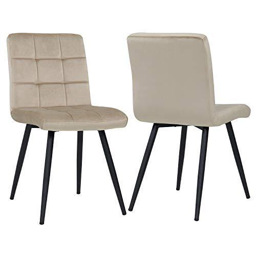 Esszimmerstuhl aus Stoff Samt Farbauswahl Stuhl Retro Design Polsterstuhl mit Rückenlehne Metallbeine Duhome 8043B, Farbe:Beige, Material:Samt
