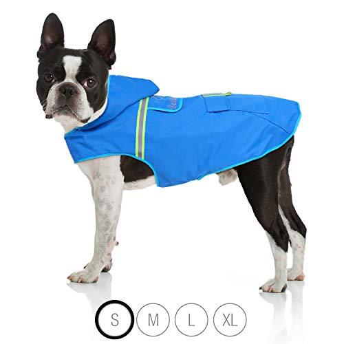 Bella & Balu Hunderegenmantel – Wasserdichter Hundemantel mit Kapuze und Reflektoren für trockene, sichere Gassigänge, den Hundespielplatz und den Urlaub mit Hund (S | Blau)