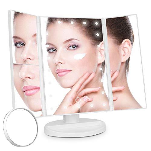 Yoodi Tríptico Espejo de Tocador de Maquillaje Iluminado 22 LED 180 Grados Ajustable Espejos de Tocador de Encimera Con Atenuación de Pantalla Táctil Ampliación 1X / 2X / 3X / 10X 180 Grados Ajustable