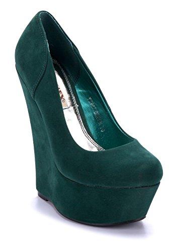 Schuhtempel24 Damen Schuhe Keilpumps Pumps grün 15 cm High Heels