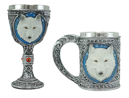 Ebros Gift Large Celtic Magic Knotwork Alpha Direwolf White Snow Wolf Drinking Coffee Mug And Wine Goblet Chalice Set With Food Safe Stainless Steel Cup Timberwolves Halloween Kitchen Decor Accent