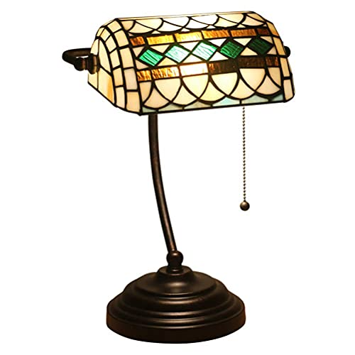 AWCVB Lámparas De Mesa De Banco, Lámpara De Escritorio E27 Tiffany Style, Decoración
