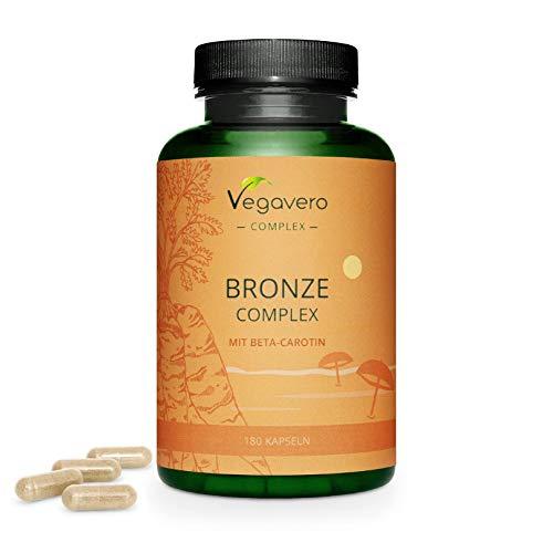Betacaroteno Complex Vegavero® | Autobronceador Natural* | 180 Cápsulas | Sin Aditivos | Con Hoja de Olivo + Licopeno + Flavonoides + L-Tirosina + Zinc + Cobre | 100% Vegano | Activador Bronceado