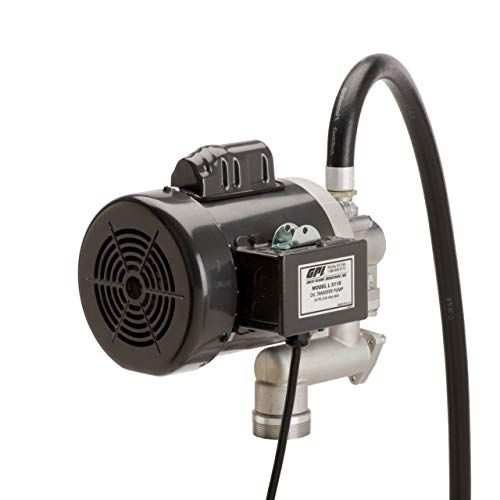 """GPI - L5116 High Viscosity Oil Pump, 16 QPM, 115V/230AC Oil Transfer Pump for Viscous Fluids that Features a 0.75"""" Ball Valve Nozzle, 8 Foot Hose, 3 Foot Power Cord with Three-Prong Plug (142100-01)"""