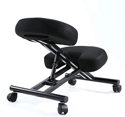 Kniestühle & -hocker HUXIUPING Hinknien Stuhl höhenverstellbar Ergonomie Bürostuhl Computer Stuhl mit Pulley Schreibtischstuhl (Color : Black)