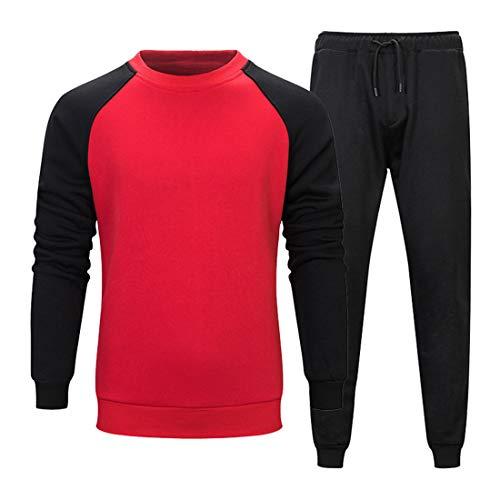 Zytyeu Sportswear - Conjunto de sudadera y pantalón de chándal para hombre, 2 piezas y pantalones modernos, con cordón, ropa deportiva, gimnasio y running .D-red L