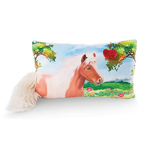 NICI Kuschelkissen Pony Lorenzo – Flauschiges Kuscheltierkissen Pferde für Mädchen, Jungen & Babys – Rechteckiges Stofftierkissen, 43 x 25 cm, bunt / schwarz, 47111