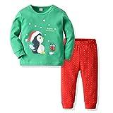 Navidad Pijamas Party Niño Niñas Bebé Dibujos Animados Tops y Pantalones a Rayas Ropa de Dormir Pijamas Navideños Unisex Set