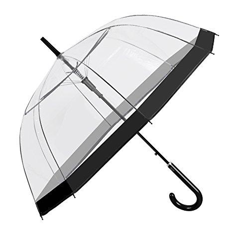 Paraguas Transparente Mujer Borde Negro de Moda - Paraguas Clásico de Burbuja Campana Automatico de Chica - Paraguas Resistente Antiviento - 89 cm de Diámetro - Perletti Time