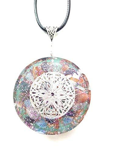 orgonita colgante Colgante orgone Mandala de plata, piedras y cristales. Reiki, Nueva Era, Chakra