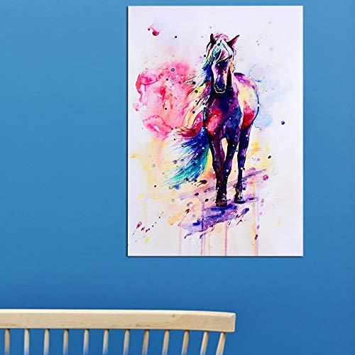 Aquarel Paard Dierlijke Kunst Olie Schilderen Canvas Muurfoto voor Huis Woonkamer Decoratie