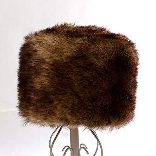 DreamyDesign DreamyDesign Fellmütze Pelzmütze Damen Faux Fuchs Pelz Warm russischen Hut in Einer Auswahl von Farbenmütze Wintermütze (Bräunliches Gelb)
