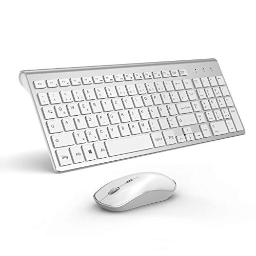 J JOYACCESS Tastatur Und Maus Set Kabellos, 2.4G Ultra Dünne Funktastatur Mit Maus, Ergonomischer Leise 2400DPI Optische Kabellose Maus für PC/Laptop/Smart TV(QWERTZ, Deutsches Layout)-Silber und Weiß