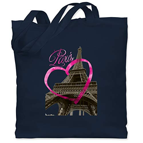 Shirtracer Städte - I love Paris - Unisize - Navy Blau - paris stoffbeutel - WM101 - Stoffbeutel aus Baumwolle Jutebeutel lange Henkel