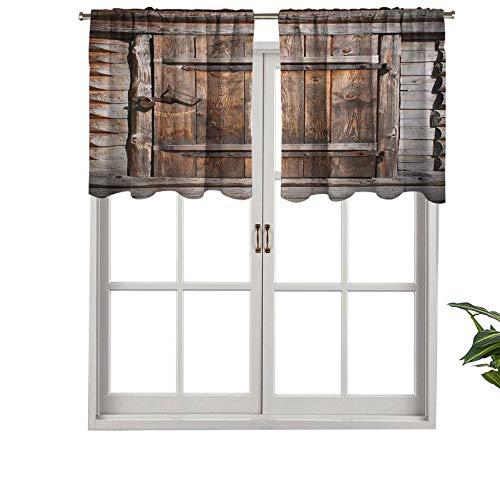 Hiiiman Cenefa recta, panel de cortina de alta calidad, puerta rústica de madera de granero antiguo en la campiña, juego de 1, 127 x 45 cm, ideal para cualquier habitación y dormitorio
