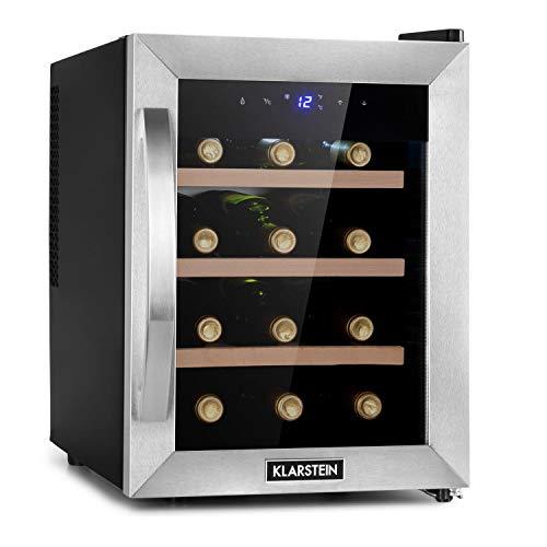 Klarstein Reserva Uno nevera para vinos, 31 litros / 12 botellas, temperatura: 11-18 °C, ruido: 26 dB, 3 baldas, luces LED, protección UV, nevera independiente, plateado