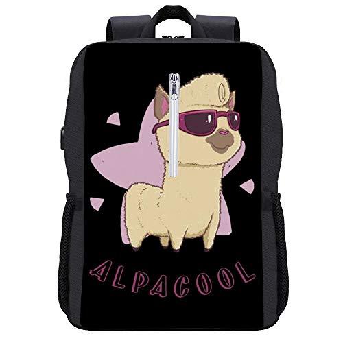 Alpacool Alpaka Rucksack Daypack Bookbag Laptop Schultasche mit USB-Ladeanschluss
