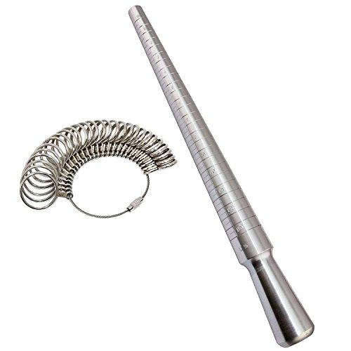 PHYHOO Ring Sizer Set Metal Ring Mandrel Steel Ring Gauge Kit Finger Size Measure Rings Sizing Measurement Jewelry Making Tool Jewelers Tools US 0-13