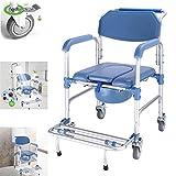 WJJ Chaise Percée Chaise Toilettes 4-in-1 Chaise Commode / WC avec Roues Chaise / Fauteuil Roulant Douche Fauteuil de Transport / 4 360 ° Freins rotatifs sur pneus