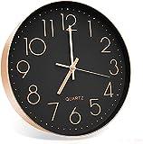 Outpicker Orologio da Parete moderno 12 Pollici/30cm Silenzioso Non ticchettio a Batteria orologio parete grandi per Cucina Home Office Scuola (Oro Rosa Nero)