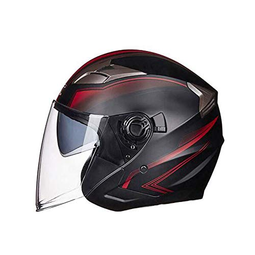 OUYA Casco jet retro con doble lente unisex, cara abierta 3/4 para motocicleta, motocicleta, scooters, vehículos eléctricos, tamaño M, L, XL, M