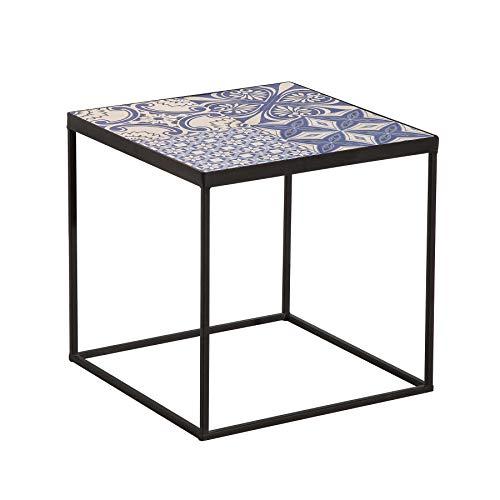 Riess Ambiente Exotischer Beistelltisch MARRAKESCH 40cm blau weiß Keramik Fliesen Couchtisch Tisch