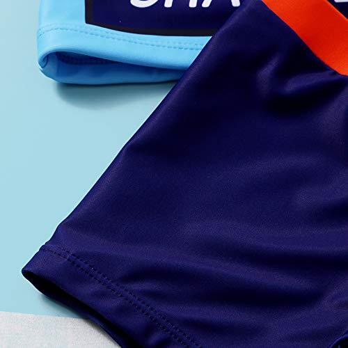 Bañador para Niños Pequeños 2 Piezas Traje de Natación Verano Camiseta de Manga Corta Pantalones Cortos Ropa de Baño con Estampado de Dibujos Animados (Azul, 6-8 Años)