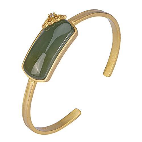 GvvcH Pulsera de plata de ley 925 y un diseño de apertura de jade para mujer, brazalete de jade Lucky Healthy