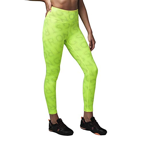 STRONG by Zumba Women's High Waisted Shaping Athletic Performance Ankle Workout Leggings with Compression, Amarillo Fluorescente, L para Mujer